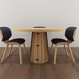 现代简约实木桌椅组合模型