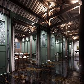 中式餐廳走廊模型