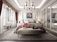 简欧卧室双人床模型3d模型