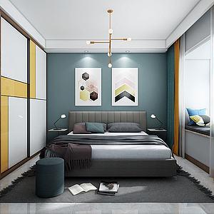 北欧主卧室3d模型