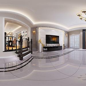 美式全景客廳餐廳模型3d模型