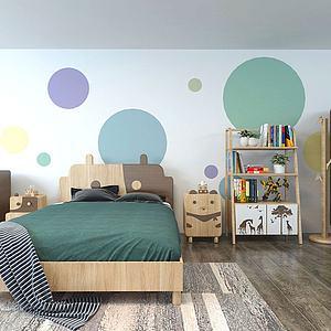 现代儿童房家具组合3d模型