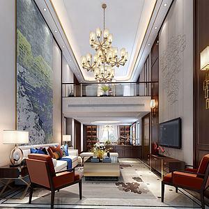 別墅客廳沙發酒柜模型3d模型