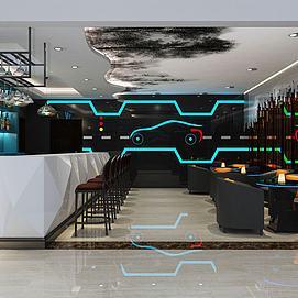 酒吧休閑區模型
