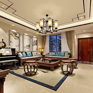 中式客廳書房模型3d模型