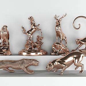 现代动物摆件组合模型