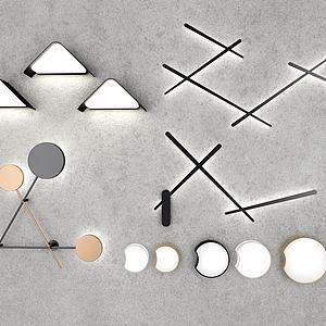 现代几何壁灯组合模型