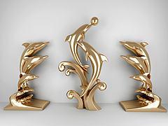 現代海豚金屬雕塑3D模型