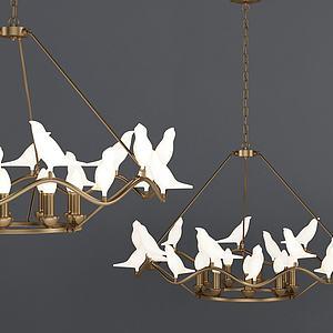 現代鴿子金屬吊燈模型3d模型
