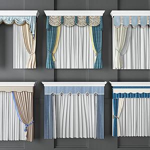 欧式窗帘组合模型