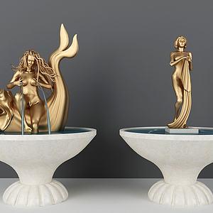 北歐廣場噴泉人物雕塑模型3d模型