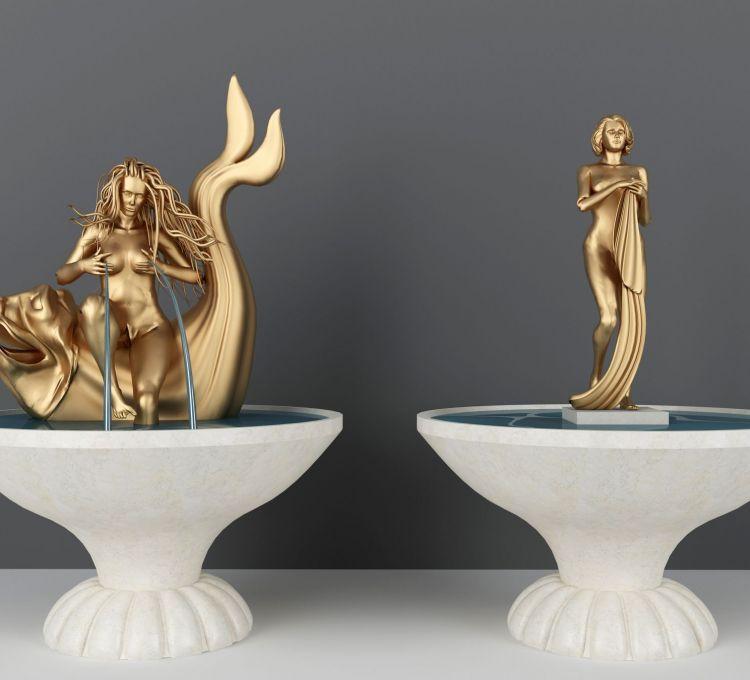 北欧广场喷泉人物雕塑模型