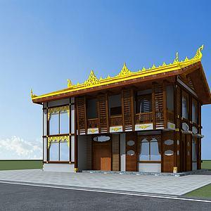 東南亞風格民居模型3d模型