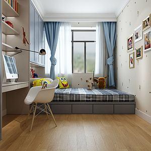 3d现代北欧儿童房卧室模型