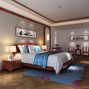 中式主臥臥室3d模型