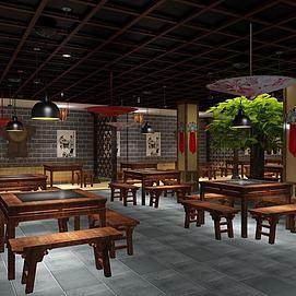中式餐飲店酒家模型