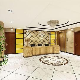 酒店前臺客房走廊模型
