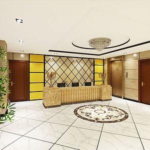 3d酒店前台客房走廊模型