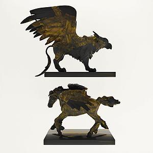 神獸銅制雕塑擺件陳設品3d模型