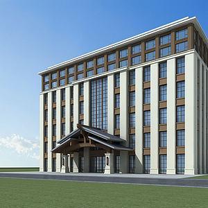 3d新中式酒店<font class='myIsRed'>大楼</font>模型