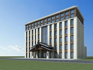 新中式酒店大楼3d模型