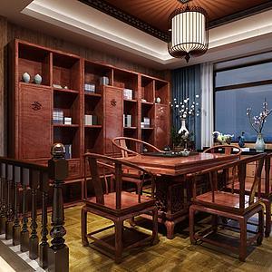 中式茶室茶桌椅茶柜組合3d模型