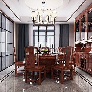 中式客廳餐廳組合3d模型