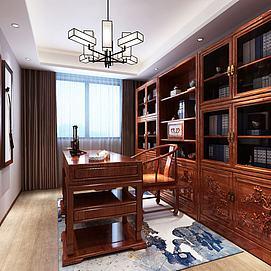中式书房书桌?#38382;?#26588;组合模型