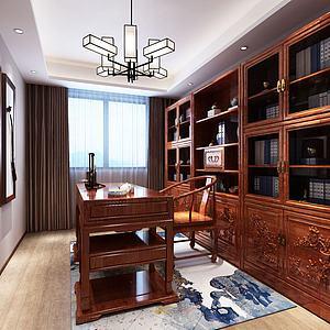 中式書房書桌椅書柜組合3d模型