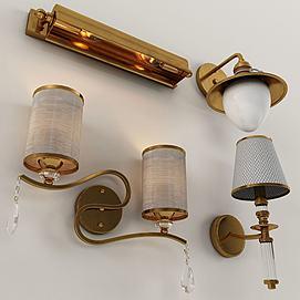 简约金属壁灯组合模型