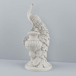 孔雀雕塑陳設品3d模型