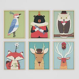 儿童动物贴图装饰画模型