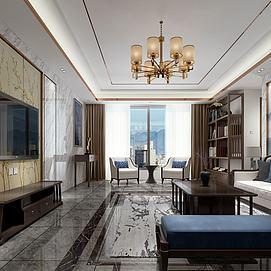 新中式客厅餐厅模型