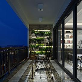 阳台观景区茶室模型
