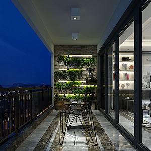 陽臺觀景區茶室模型3d模型