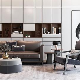 现代双人沙发单椅茶几组合模型