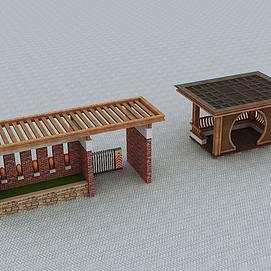 新中式廊架亭子模型