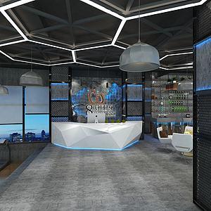 健身房前臺休息區模型3d模型