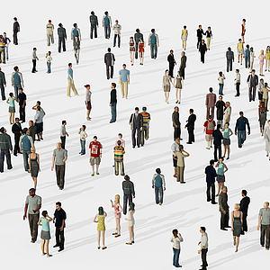 行人男人女人聊天人群模型