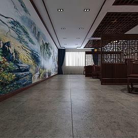 新中式茶館茶廳模型
