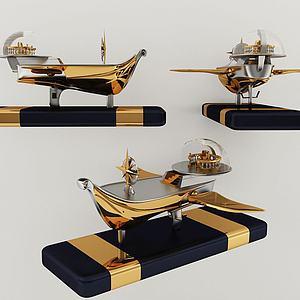 現代航海船擺件3d模型