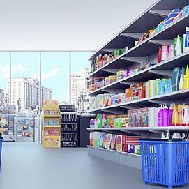 現代超市貨架展廳架模型