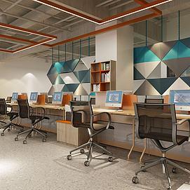現代開放式辦公室模型