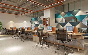 现代开放式办公室3d模型