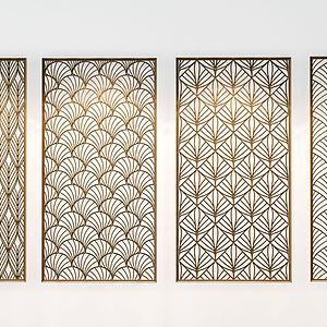 现代金属隔断组合模型