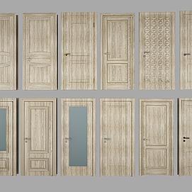 现代实木单开门组合模型