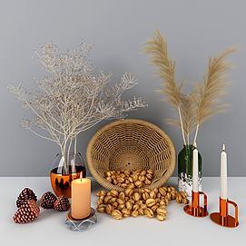 坚果篮蜡烛摆件组合模型
