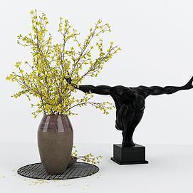 人与花儿摆件组合模型