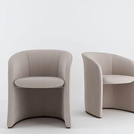 現代布藝扶手椅模型