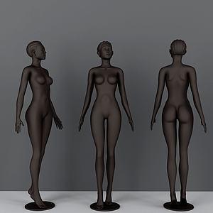 现代黑人美女模特模型